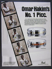 1989 omar hakim Pearl Brass & Maple Shell Piccolo Snare Drums vintage print Ad