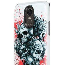 For LG STYLO 3 / STYLO 3 PLUS - Hard Hybrid Armor Case Cover Red Skull Crown
