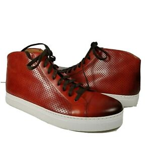 Magnanni Mens Mid Top Leather Sneakers Mack Red leather lace size 11.5 new