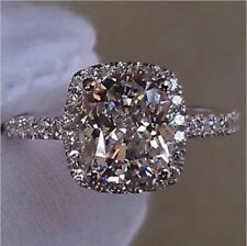 Solid 14K White Gold 2.0 Ct Cushion Cut NSCD Diamond Engagement Wedding Ring