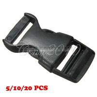 Black 25mm Plastic Side Release Buckle Slider Clip Fastener For Webbing Strap