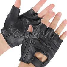 M Black Half Finger Leather Gloves Cattlehide Motorcycle Bicycle Bike Durable