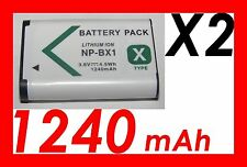 ★★★ 2X 1240mAh BATTERIE Lithium ion ★★★ SONY NP-BX1 /NPBX1 / SONY HDR-AS15