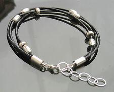De Cuero Genuino Negro Cable Pulsera Plata 925 Con final Broche Y Perlas