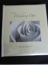 WEDDING ALBUM FOR 80 4 x 6  PHOTOS ROSE AND DIAMONTE CREAM COVER