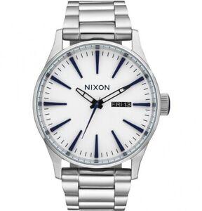 NEW Nixon Herrenuhr A356-2450 Sentry SS White Sunray Silber Uhr Armbanduhr