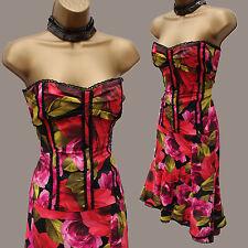 Karen Millen Red Roses Floral Lace Trim Corset & Skirt Outfit Dress 12-14 UK