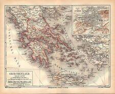 GRIECHENLAND ATHEN Patras Hydra Tripolitza Nauplia  historische Landkarte 1876