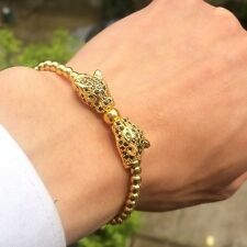 2018 Fashion Men's 18kt Gold Plated Panther Zircon Leopard Head Macrame Bracelet