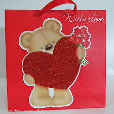 Gift Bag Small Red With Love Him Her Present Wrapping Bear Heart Wife Partner