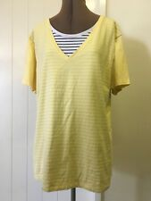 Esprit Plus Size 18 XXL Yellow Layered Over Striped T-Shirt Soft Stretchy # 780