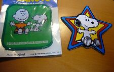 """2 VINTAGE 1958-SNOOPY/PEANUTS PATCH NEW 3 """" Charlie Brown Vinyl Sew on Fabric"""