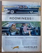 1959 magazine ad for Chrysler - Photos of blue Windsor 4-door hardtop, Roominess