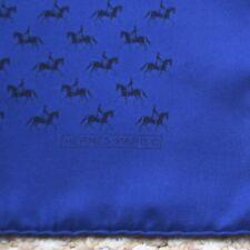 HERMES POCKET SQUARE SCARF ~ BRIGHT & DARK BLUE w/ COWBOYS ON HORSES