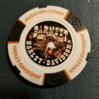 BARNETT HD ~ Texas ~ (Full Color White/Black/Org) Harley Davidson Poker Chip