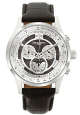 Jorg Gray Mens JG6600-24 Silver Dial Black Leather Band Stainless Steel Watch