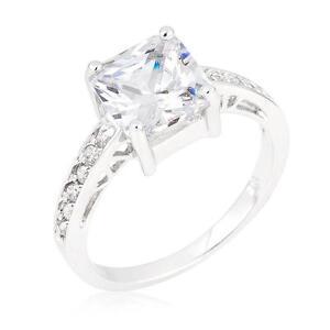 2 TCW Princess & Round Cut CZ .925 Silver Pave Set Bridal Wedding Ring Size 5-10