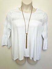 SUSSAN white embroidered smock top flare 3/4 sleeve sz large