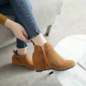 Womens Fashion Faux Suede Cutout Tassel Hiddedn Wedge BOHO Ankle Boots Shoes SUN