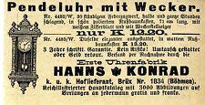 Erste Uhrenfabrik Hanns Konrad k.u.k.Hoflieferant in Brüx Böhmen Ad 1909