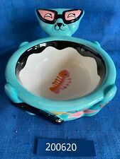 Vintage Katherine's Collection Blue Hippy Cat Bowl Dish Retired Oop Eye Glasses