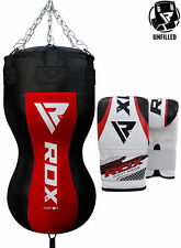RDX UnFilled Punching Bag Upper Cut Boxing Set With Gloves Chain MMA Training CA