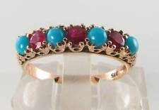 Persian Turquoise Art Deco Ins Eternity Ring 9K 9Ct Rose Gold Blood Ruby &