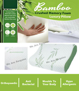 Bamboo Contour Memory Foam Pillow Orthopaedic Firm Neck Head And Back Support