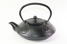 24 fl oz Black Fu Lu Shou Xi Chinese Cast Iron Teapot Tetsubin + Infuser Filter