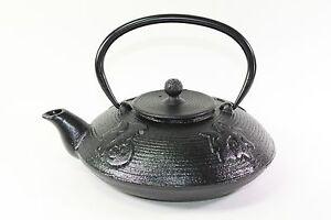 24 fl oz Black Fu Lu Shou Xi Chinese Cast Iron Teapot Tetsubin + Infuser Filter