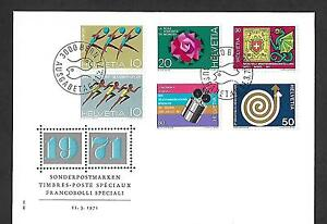 SWITZERLAND 1971 FIRST DAY COVER # 524/29, COMPLETE SET !!