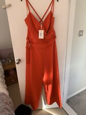 River Island Red Playsuit with Buttoning and Ruffle Collar SIZES 6-16