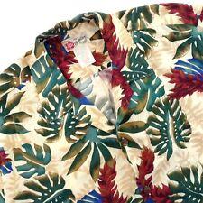 Hilo Hattie Hawaiian Aloha Friday Shirt Monserta Leaves Maroon Green Beige 2XL
