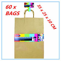 60 X LARGE CRAFT DIY BROWN PAPER GIFT BAGS WITH HANDLE PARTY  WRAP WRAPPING A