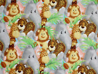 JUNGLE BABIES PATTY REED COTTON FABRIC TRADITIONS NURSERY QUILTING  BY THE YARD