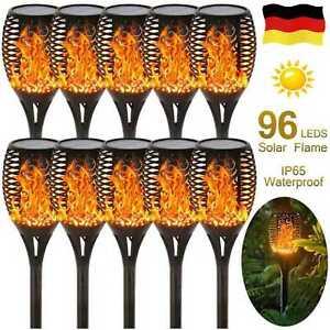 3 Modi LED Solarleuchte Flamme Solar fackel Gartenfackel 96 LED flackernde IP65