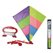 Einleiner Drachen mit Schwanz Kinderdrachen Flugdrachen bunt 80 x 80 cm Nylon