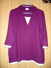 "Shirt, lila/weiß m.Kragen, 3/4 Arm, Gr.44/46, von "" Your Life/Your Fashion "" !"