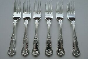 6 Vintage Sheffield Silver Plated Double Struck Kings Pattern Cake, Pastry Forks