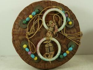 VERY WELL MADE WOVEN LIDDED BASKET CHINESE COINS JADE STYLE BANGLES VERY RARE