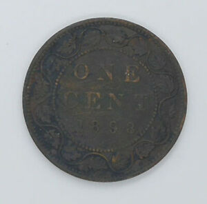 1898 Canadian coin One cents VF-30 condition
