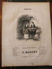 Partition Sheet Music 19 ème Siècle Partez F Masini Eau Forte E Leroux