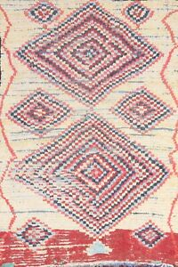 MEMORIAL DEAL Antique Geometric Moroccan Oriental Area Rug Wool Hand-knotted 4x6