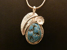 Handcrafted Sterling Silver Southwest Flower Signed Turquoise Pendant 925