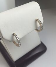 New 14k Solid Gold Channel Set Diamonds Huggie Hoop Earrings