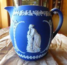 1891 Ant Wedgwood Deep Cobalt Blue Jasperware  Large Handled Pitcher/Milk JUG EX