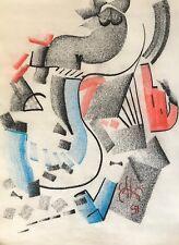 Pastel art contemporain signé illisible ? 1997 abstrait abstraction géométrique