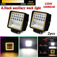 "2x126W 4.3"" 42 LED Flood Beam Work Light Fog Lamp DRL Angle Eye Offroad Tractor"