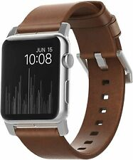 Nomad Strap for Apple Watch 44mm/42mm | Rustic Brown Leather | Silver Hardware