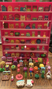 Shopkins Lot Of 95 Figurines Plus Pink Travel Storage Display Case